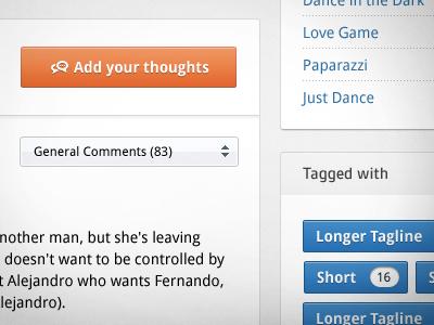 Buttons n' Stuff website web web design button orange blue tags droid sans ui comments