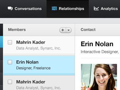 Relationships contacts address book relationships ui dark