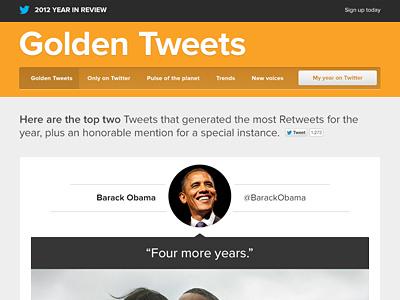 Golden Tweets twitter web design proxima-nova yellow mustard gold quote