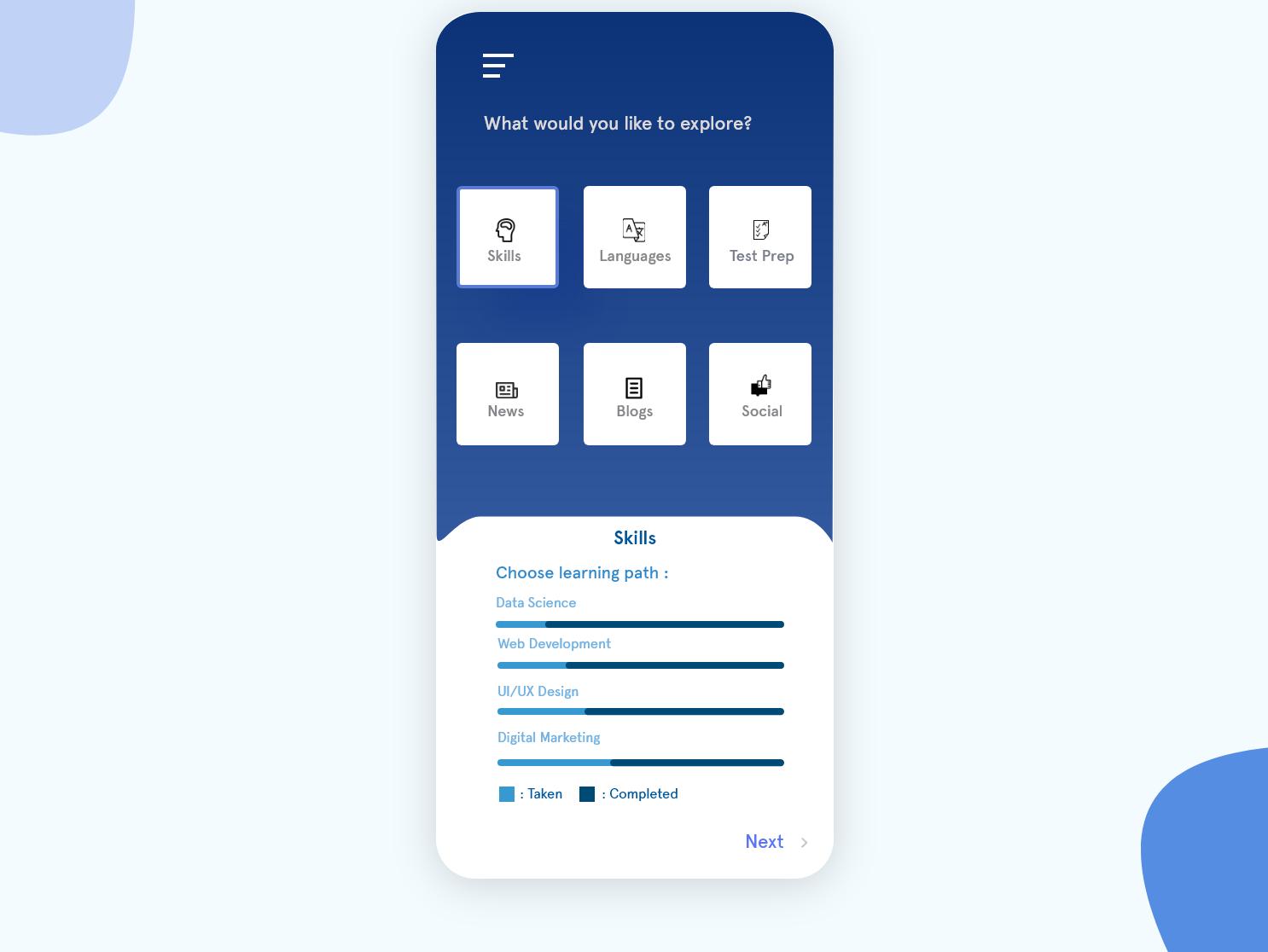 Explore App Concept exploration education content card adobexd app ui concept design