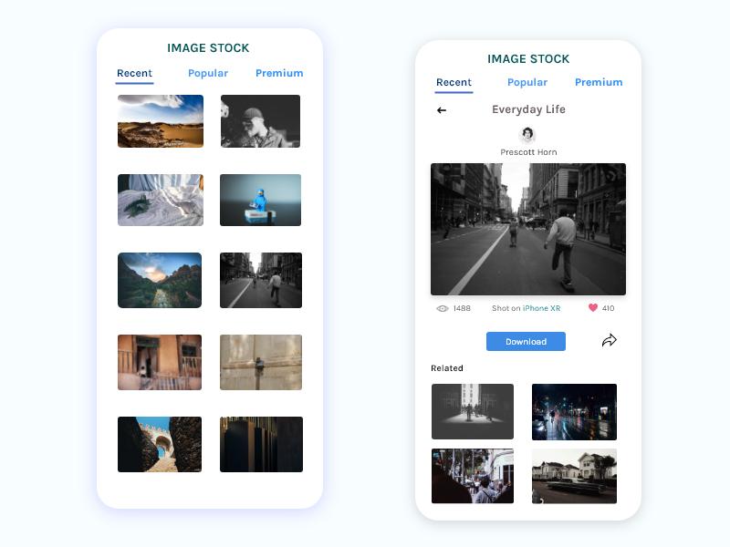 Stock Image App Feed Concept app design stock photo mockup content card ux ui app concept design