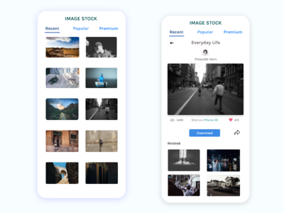 Stock Image App Feed Concept