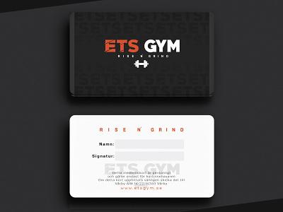 ETS GYM - MEMBERSHIP CARD web design print materials style vector print material print new letter typography logomark logotype branding illustration business card design brand identity logodesign logo gym logo logo design