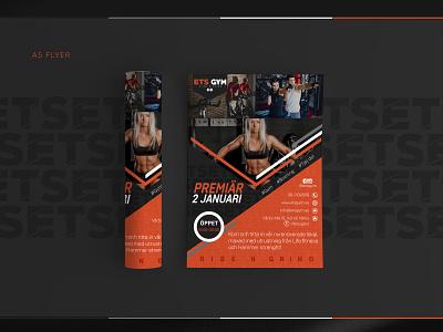 ETS GYM - A5 FLYER web design typography a5 flyer print materials print material print logo design logo illustration gym logo business card design brand identity vector style new logotype logomark logodesign branding