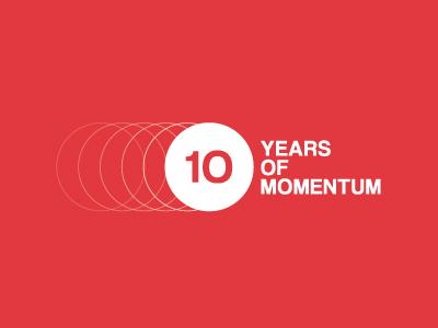 Ten Years logo motor momentum simple clean helvetica red circular movement