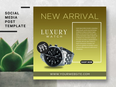 LUXURY WATCH SOCIAL MEDIA POST TEMPLATE website web clean vector flat minimal identity brand branding design