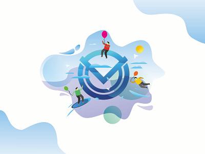 Motiva Illustration minimal identity brand web branding logo icon animation vector illustration flat design