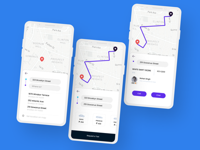 Taxi Booking App | Concept travel ride mobile blue schedule locations tracking taxi map ui driver design app ui  ux ui