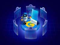 Drawing robot tech design tech robot website vector landing page uiux ui color browser blue app