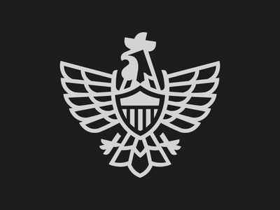 Rooster shield 3 line flat vector illustration logo eagle rooster shield vector