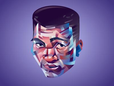 Muhammad Ali fight cassius purple grey flat boxe vector colorfull portrair