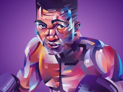 Muhammad Ali vector purple portrait grey flat fight colorfull cassius boxe