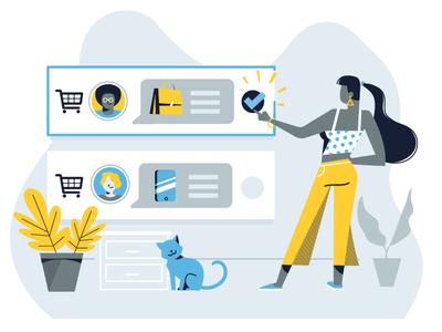 GoCommerce illustrations vector ui ecommerce web design webdesign web editorial shapes illustration ios color flat