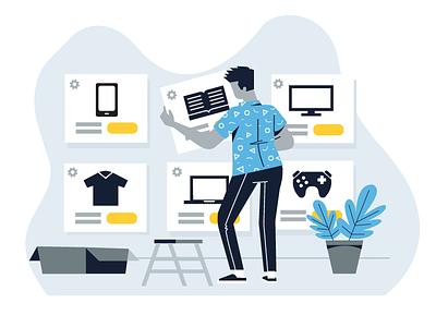 ecommerce illustration ecommerce color ui shapes illustration app flat design vector