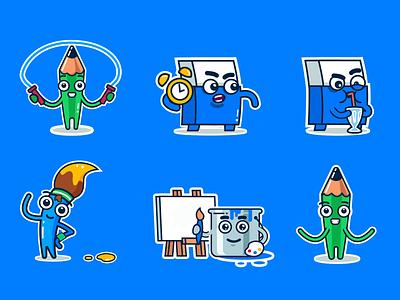 Gartic.io stickers animation 2d pen game instagram stickers sticker animation ui shapes ios flat vector