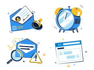 Website icons web clock mail editorial ux ui flat colorful shapes app icon design vector icon