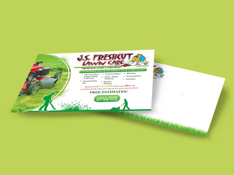 Post Card grass lawn adobe print printready vector design modern clean card postcard post