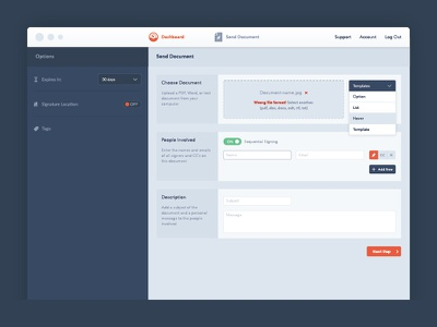 Dashboard for online document signing, part 2 app design app interface design interface ui signature information architecture documents document management dashboard