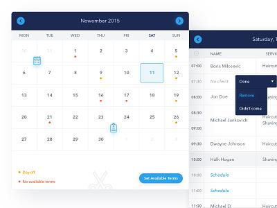 App dashboard for hairdressers calendar hair ui design information architecture interface design interface ui app design app database