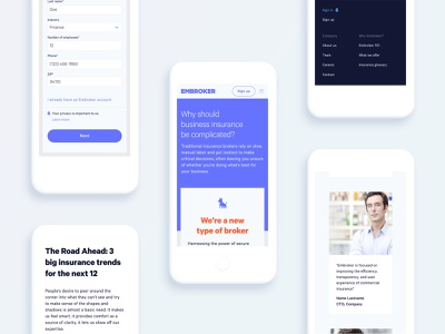 Mobile pages for marketing website
