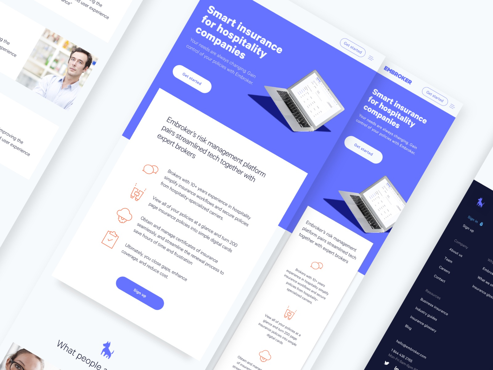 Tablet and mobile landing page