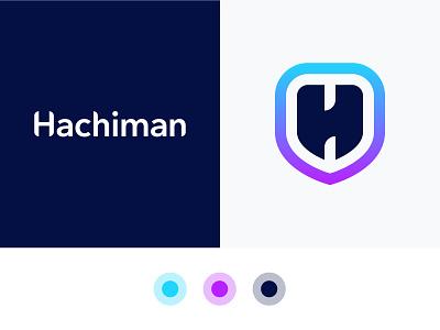 Hachiman Security App Logo V2 identity design logo identity icon vector logo design logo security logo security monogram h data protection data shield logo shield swords