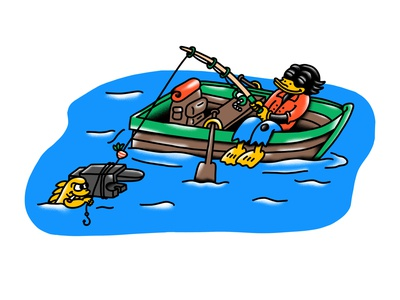 Something fishy cartoon hand drawn illustration