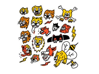 Wild kitties and dogs line hand drawn illustration cartoon