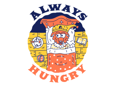 The Wolf is always hungry cartoon hand drawn illustration line wolf