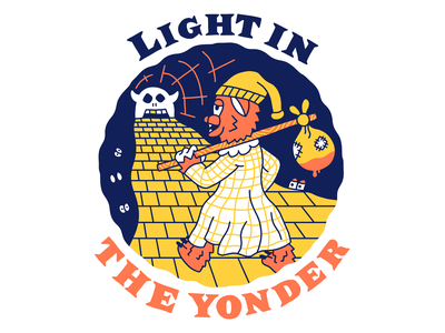 Light in the yonder cartoon hand drawn line illustration