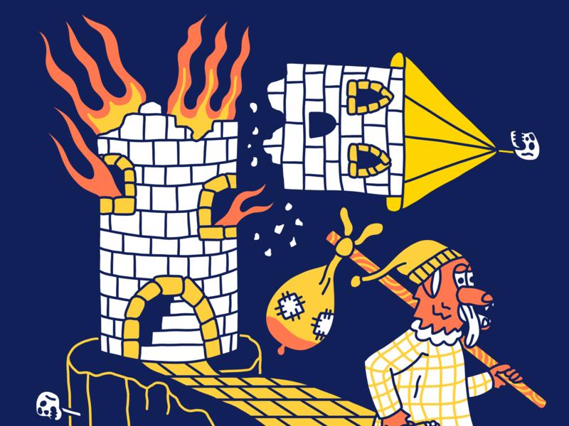 Burning tower of doom cartoon hand drawn line illustration