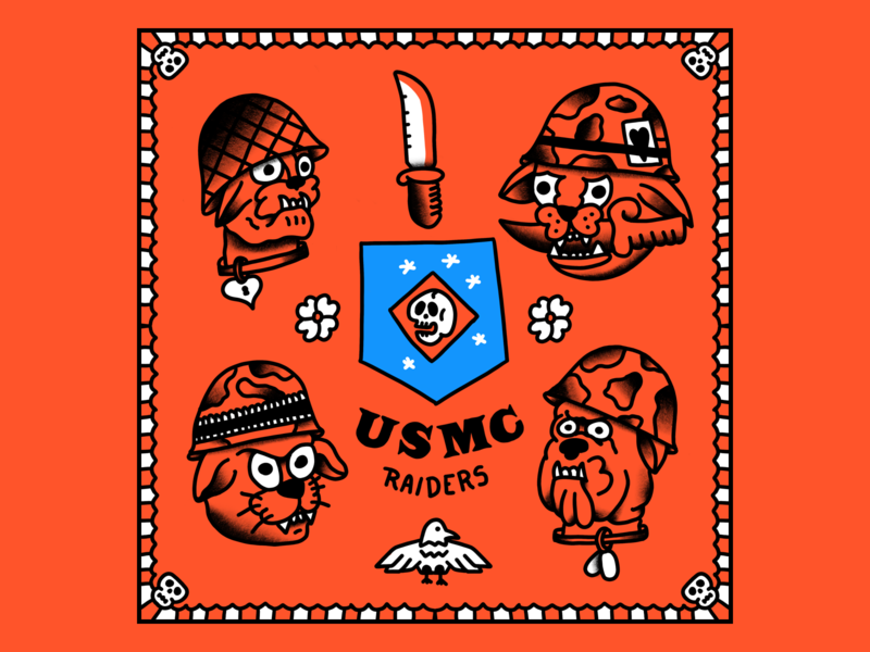 Marine Raiders usmc tattoo flash tattoo cartoon hand drawn line illustration