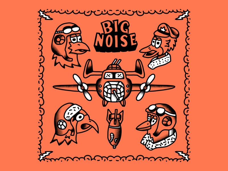Big noise tattoo flash tattoo cartoon hand drawn line illustration
