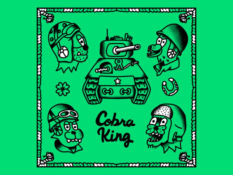Cobra King cartoon tattoo tattoo flash hand drawn line illustration