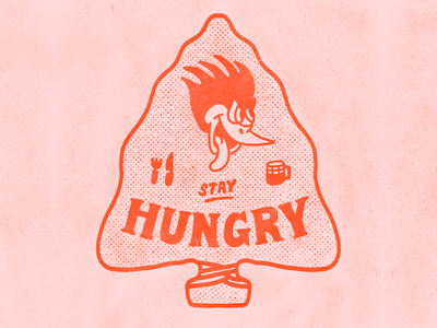 Stay Hungry tattoo cartoon hand drawn line illustration