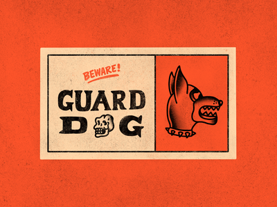 Beware! Guard Dog tattoo sign cartoon hand drawn line illustration