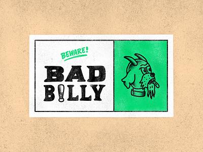 Beware! Bad Billy sign tattoo cartoon hand drawn line illustration