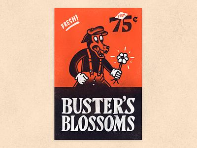 Buster's Blossoms vintage cartoon line hand drawn illustration