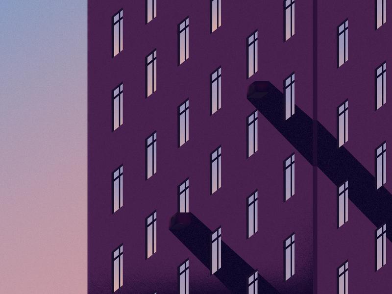 Evening tower block 3d graphic design creativity minimal flat design clean vector illustrator illustration