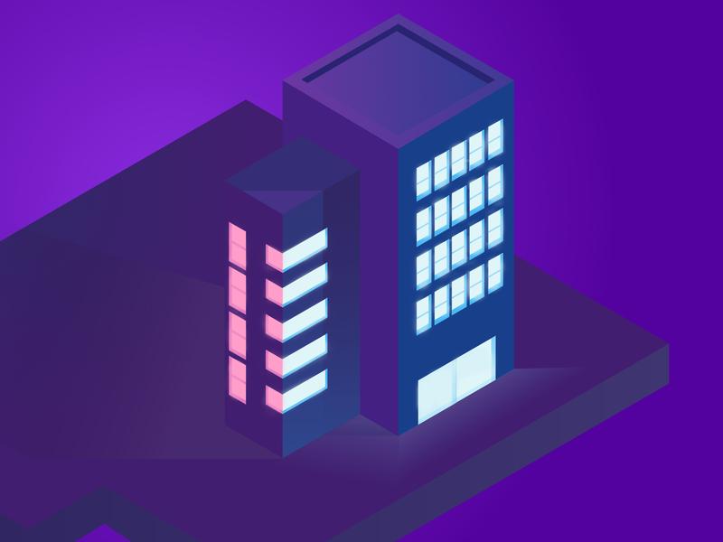 Tall glowing tower building minimal pink purple blue vector animation creativity illustrator 3d flat illustration design clean