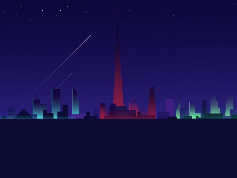 Dubai city night-line creativity graphic design flat designs clean design illustrator minimal flat vector illustration