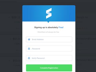Stockflare Register Modal stock modal register login