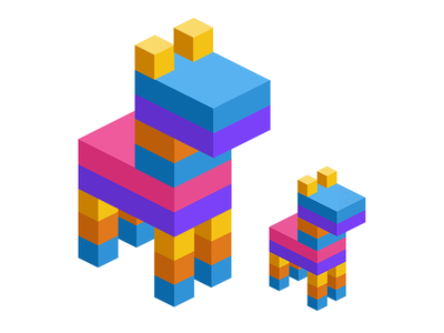Isometric Piñata isometric cubism cubes animals flat colours logo branding
