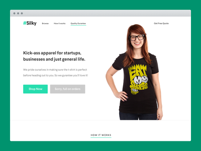 #Silky Landing Page ui ux bright t-shirts silky startup landing