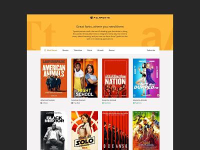 Film Fonts Homepage Design yellow website films