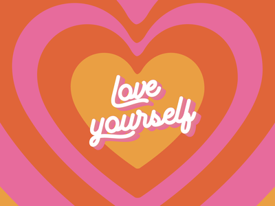 Love yourself 💕 branding yellow love vector typography brand design pink illustration