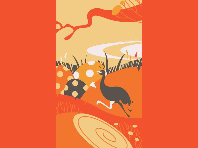 Ostriches cartoon ostrich vector illustration