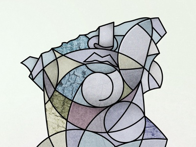 Geometric Collage   02002A collage sculpture stone hellenistic greek head man statue abstract line lines geometry geometric illustration