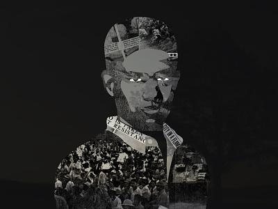 Shadow geometric newspaper illustration man halloween dark shadow compositing collage