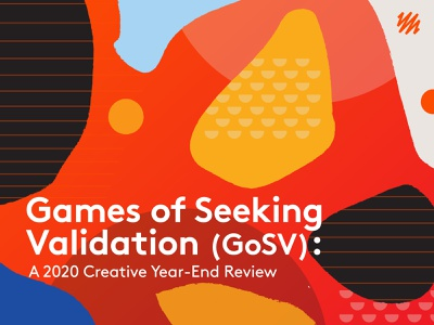 Games of Seeking Validation colorful orange shape cover review year illustration shapes pallete color background geometric pattern